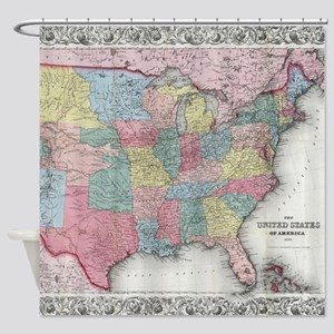 Vintage United States Map 1853 Shower Curtain