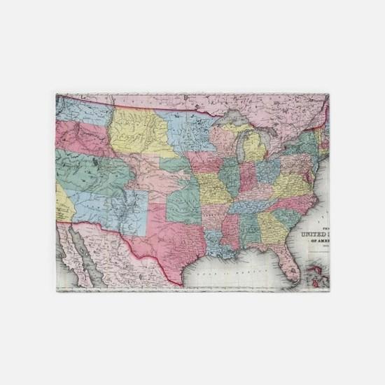 Vintage United States Map (1853) 5'x7'Area Rug