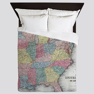 Vintage United States Map (1853) Queen Duvet