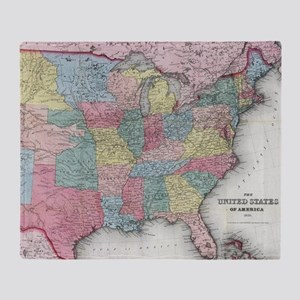 Vintage United States Map (1853) Throw Blanket