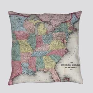 Vintage United States Map (1853) Everyday Pillow