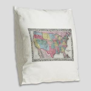 Vintage United States Map (185 Burlap Throw Pillow