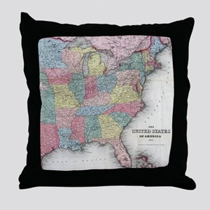 Vintage United States Map (1853) Throw Pillow