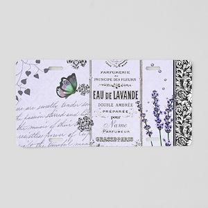 Girly Purple Vintage Collage Aluminum License Plat