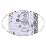Girly Purple Vintage Collage Sticker (Oval 50 pk)