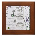 Girly Purple Vintage Collage Framed Tile