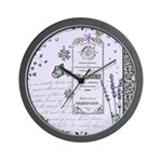 Girly Purple Vintage Collage Wall Clock
