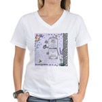 Girly Purple Vintage Collage Women's V-Neck T-Shir