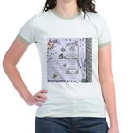 Girly Purple Vintage Collage Jr. Ringer T-Shirt