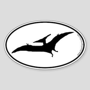 Dinosaur Pterodactyl SILHOUETTE Sticker (Oval)