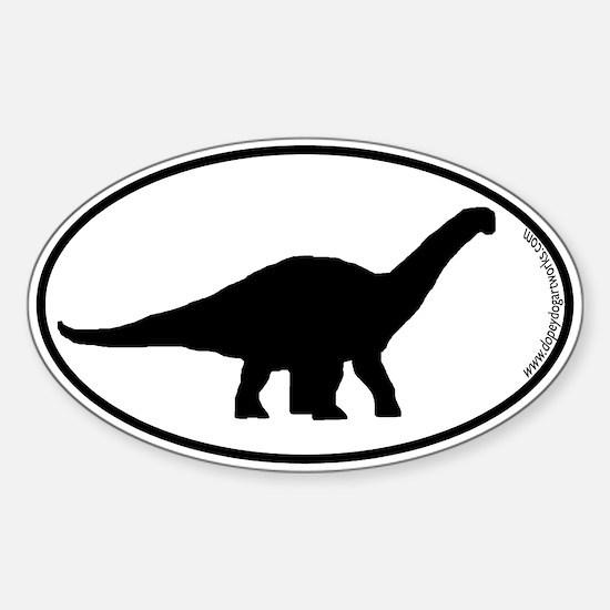 Dinosaur Apatosaurus SILHOUETTE Sticker (Oval)