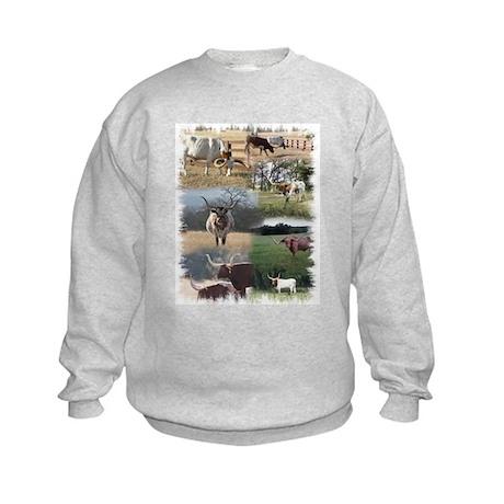 Texas Longhorn Cattle Kids Sweatshirt