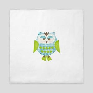 Blue Argyle Owl Queen Duvet