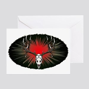 European skull mount,red Greeting Card