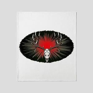 European skull mount,red Throw Blanket