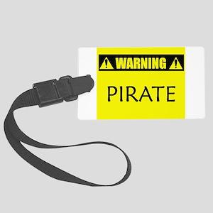 Warning: Pirate Large Luggage Tag