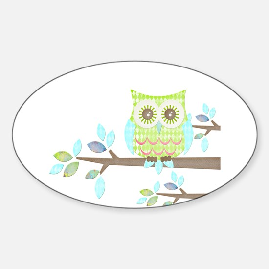 Bright Eyes Owl in Tree Sticker (Oval)