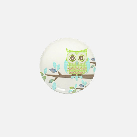 Bright Eyes Owl in Tree Mini Button (10 pack)
