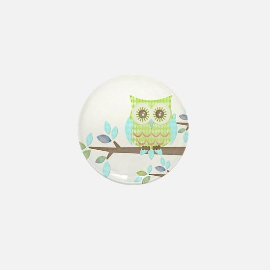 Bright Eyes Owl in Tree Mini Button