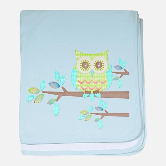 Bright Eyes Owl in Tree baby blanket