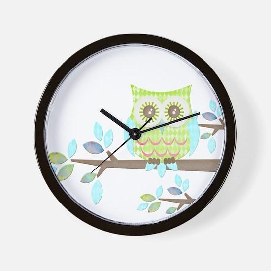 Bright Eyes Owl in Tree Wall Clock