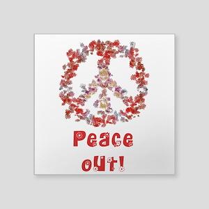 """Attraction PeaceOut V Square Sticker 3"""" x 3&q"""
