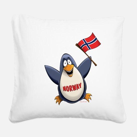 Norway Penguin Square Canvas Pillow