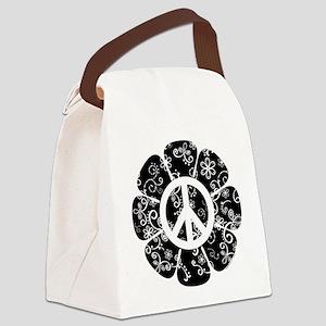 Peace Symbol Flower Canvas Lunch Bag