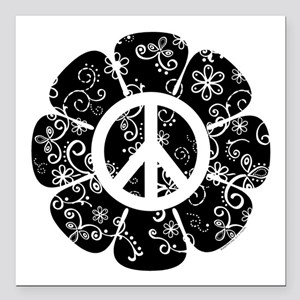 "Peace Symbol Flower Square Car Magnet 3"" x 3"""