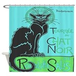 Vintage French Chat Noir Cat Shower Curtain