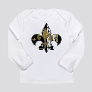 Fleur de lis bling black and gold Long Sleeve Infa