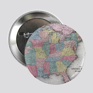 """Vintage United States Map (1853) 2.25"""" Button"""