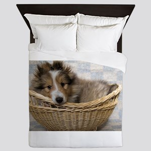 Sheltie Puppy Queen Duvet