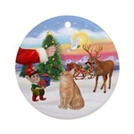 Treat for an Orange Tabby Ca Ornament (Round)