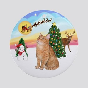 Take Off - Orange Ragdoll cat Ornament (Round)