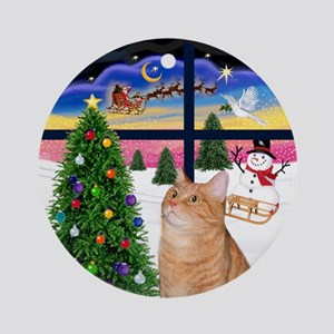XmasWindow-Orange Tabby Cat Ornament (Round)