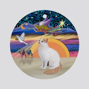 Christmas Angel - Turkish Van cat Ornament (Round)
