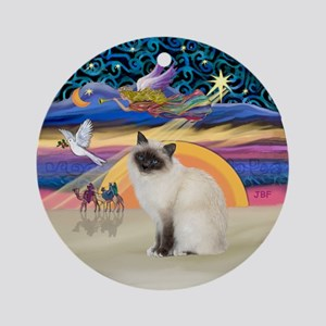 Christmas Angel-Birman Cat Ornament (Round)