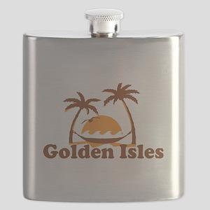 Golden Isles GA - Palm Trees Design. Flask