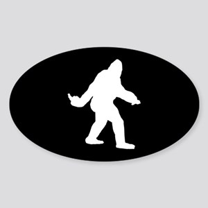 Bigfoot Flips The Bird Sticker (Oval)