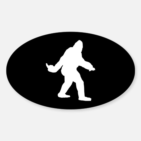 Bigfoot Flips The Bird Sticker (Oval)
