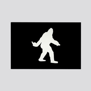 Bigfoot Flips The Bird Rectangle Magnet