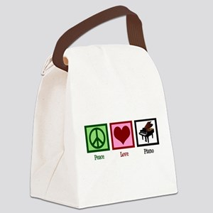 Peace Love Piano Canvas Lunch Bag