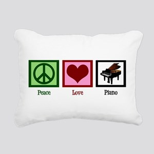 Peace Love Piano Rectangular Canvas Pillow
