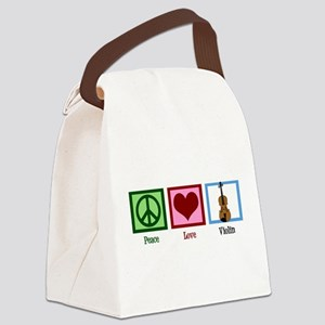 Peace Love Violin Canvas Lunch Bag