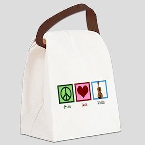 Peace Love Violin Canvas Lunch Bag