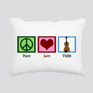 Peace Love Violin Rectangular Canvas Pillow