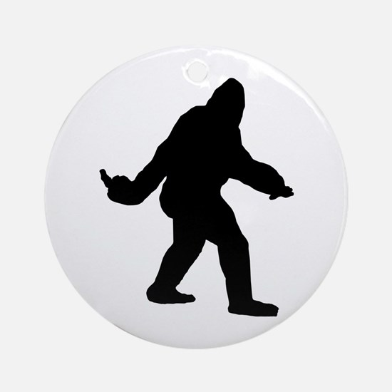 Bigfoot Flips The Bird Ornament (Round)