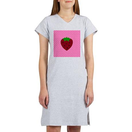 Pink Polka Dots and Strawberries Women's Nightshir