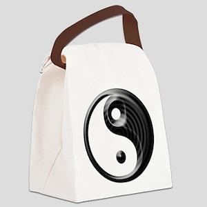 Black Striped Yin Yang Canvas Lunch Bag